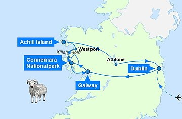 Karte zur Irland Mietwagen Rundreise - Meet the Sheep
