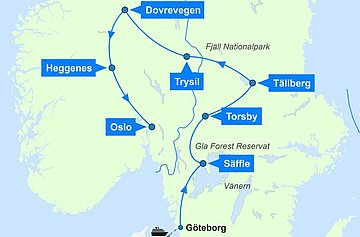 Karte zur Schweden & Norwegen Auto Rundreise - Wildlife & Nature